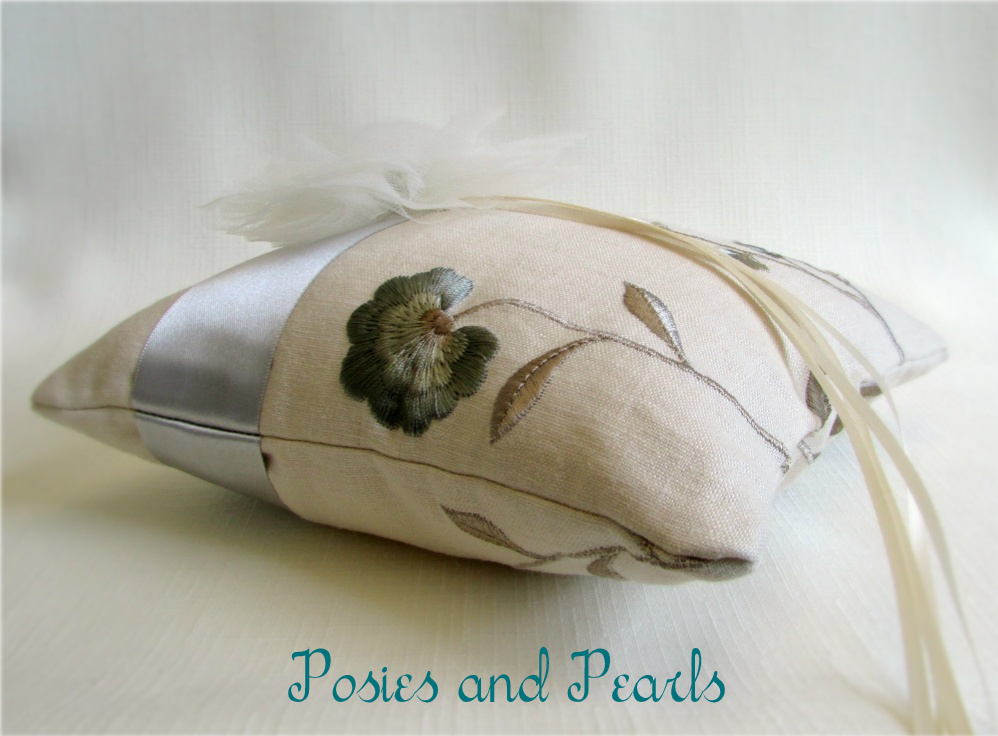 Luxe Embroidered Linen Ring Bearer Pillow