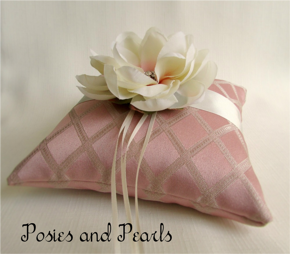 Magnolia Blush Ring Bearer Pillow