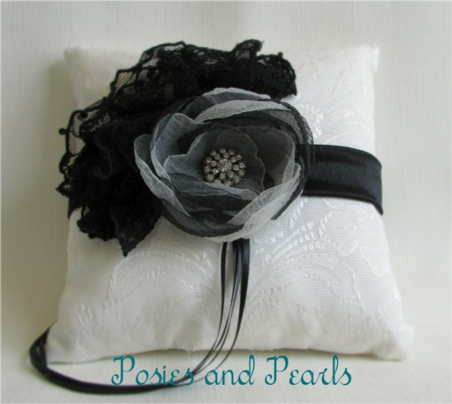 Noir Lace Ring Bearer Pillow