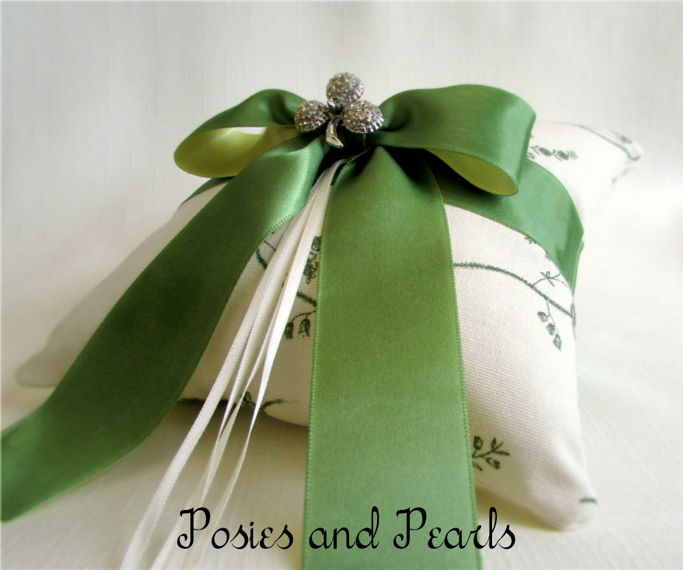 Sparkling Emerald Ring Bearer Pillow (Made Per Order)