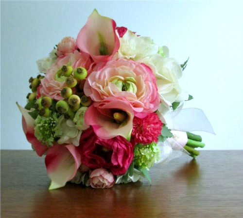 Blushing Bridal Bouquet + Boutonniere (Made Per Order)