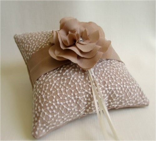 Champagne Lace Camellia Ring Bearer Pillow