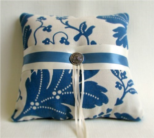 Colonial Blue Oak Ring Bearer Pillow