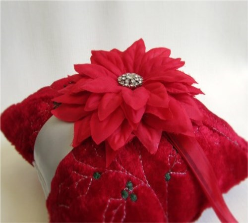 Crimson Poinsettia Ring Bearer Pillow