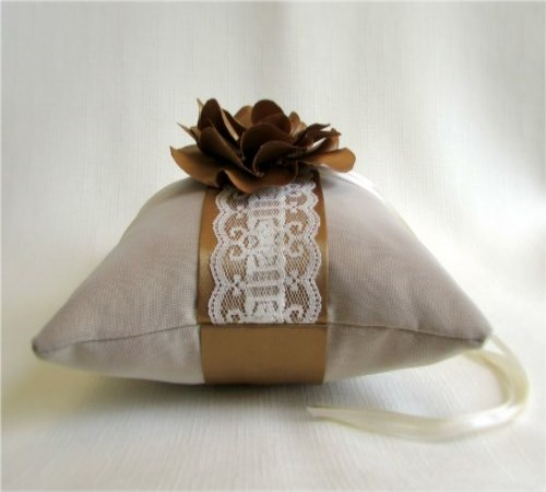 Golden Mist Camellia Ring Bearer Pillow