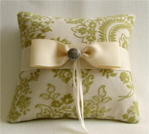 Golden Sage Ring Bearer Pillow