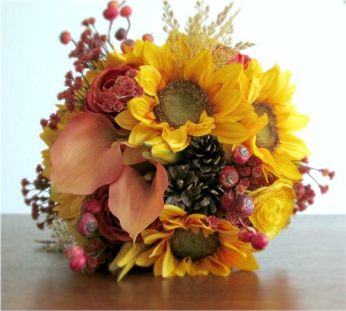 Harvest Bridal Bouquet + Boutonniere (Made Per Order)