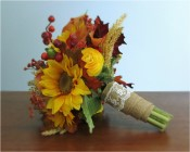 Harvest Bridal Bouquet + Boutonniere