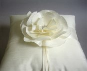 Ivory Camellia Ring Bearer Pillow