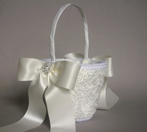Ivory Elegance Flower Girl Basket