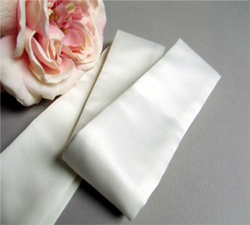 Classic Ivory Satin Sash (Made Per Order)