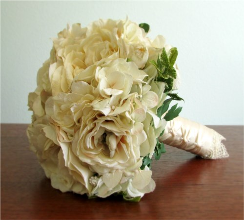 New Dreams Bridal Bouquet + Boutonniere, Vanilla (Made Per Order)