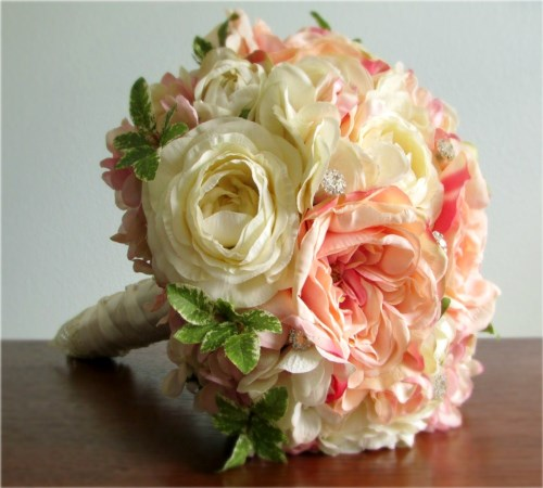 New Dreams Bouquet + Boutonniere, Blush Pink & Vanilla (Made Per Order)