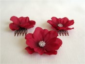 Scarlet Anemone Hair Flowers, Set of 3