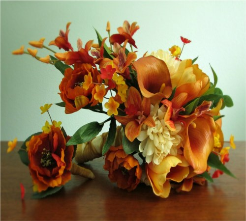 Sunset Bridal Bouquet and Boutonniere
