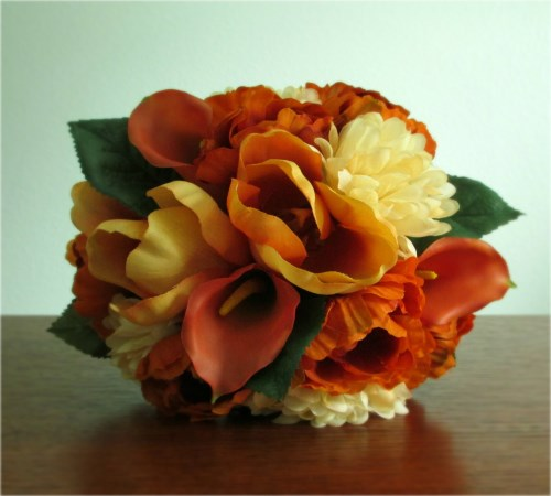 Sunset Bridesmaid Bouquet and Boutonniere